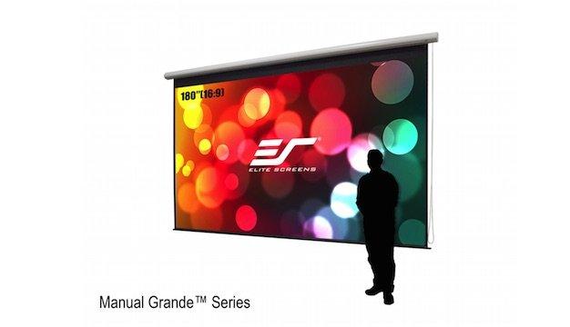 elite screens introduces manual grande largevenue 180u201d manual projector screen
